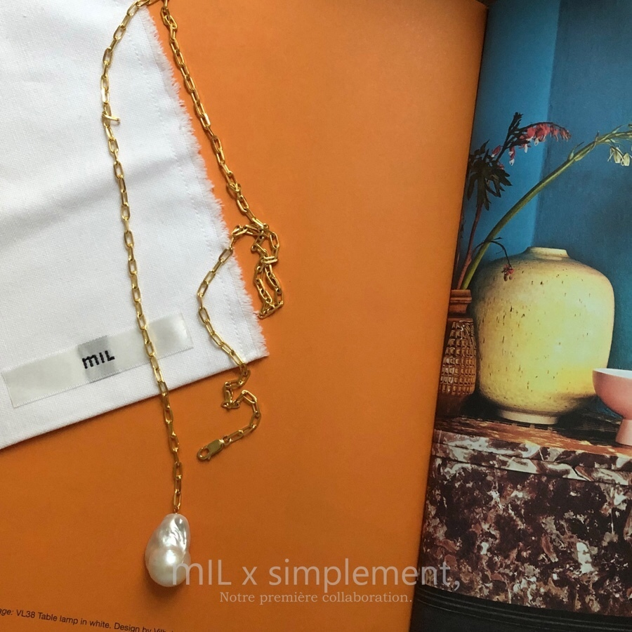 mIL x simplement, Gold necklace with drop Pearl
