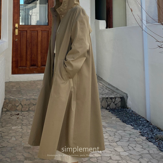 126 Saint-germain Hooded Trench Coat in Beige (water-repellent)